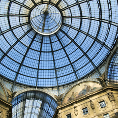 Glass ceiling in Vittorio Emanuele gallery of Milan