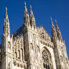 Gothic facade of Milan Cathedral