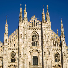 Gothic facade of Milan Cathedral