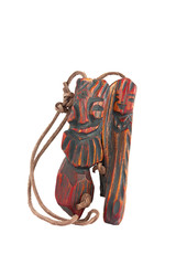 Wooden pendant amulet in the form of an inseparable pair of men