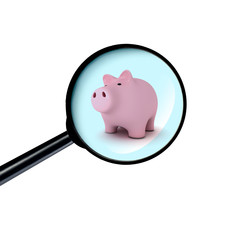 Piggy bank under the magnifying glass