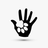 Vector modern paw hold hand black icon on white