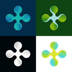 Vector abstract logo in different colors