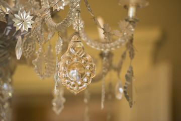 glass pendant detail of hall chandelier