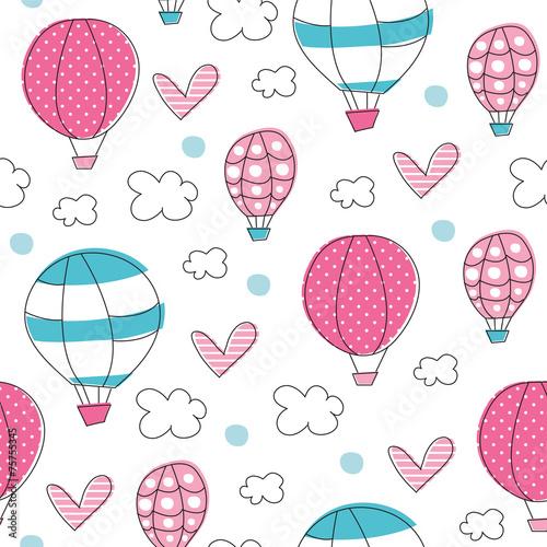 air balloons pattern vector illustration © Larienn