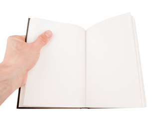 Hand holding an empty notepad or book