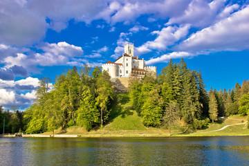 Odyllic lake hill castle of Trakoscan
