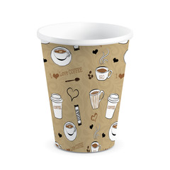 Isolated Decorated Paper / Plastic Cup, Vector Illustration