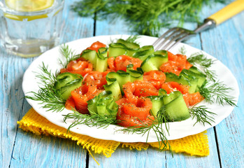 Homemade salted salmon with cucumber and dill.
