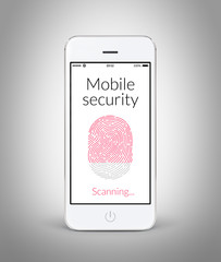 Front view of white smart phone with mobile security fingerprint