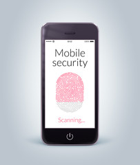 Front view of black smart phone with mobile security fingerprint