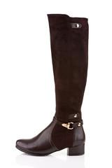 Elegant female knee high boot isolated on white