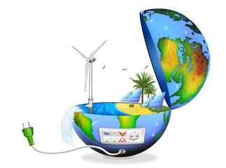 Globus, Erde aufgeklappt mit erneuerbaren Energien, freigestellt