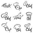 monochrome illustration of chef sets