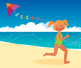 Girl with a kite on the beach running
