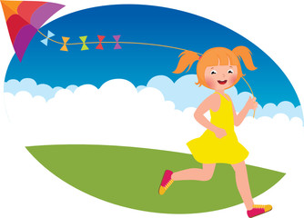 Child girl with a kite runs