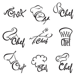 monochrome illustration of chef sets