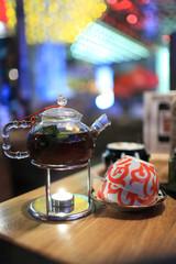 Glass teapot and teacups