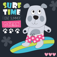 cute surf dog vector illustration
