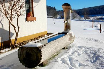 Holzbrunnen im Winter