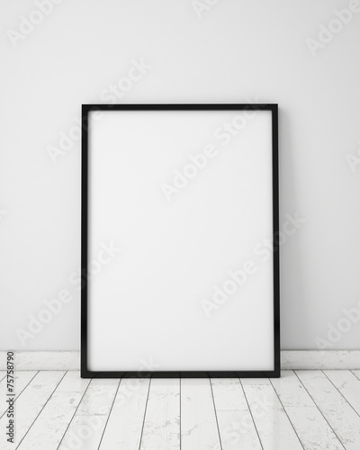 mock up poster in white scandinavian interior, background - 75758790