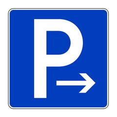 Parkplatz mit Pfeil