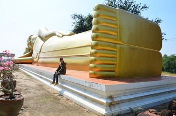Reclining Buddha of Aranyikawas Temple at Ratchaburi