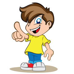 Illustration is a happy boy child, pointing or showing
