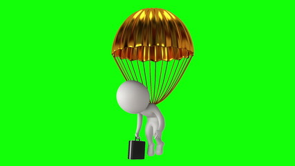Poor white businessman under gold parachute