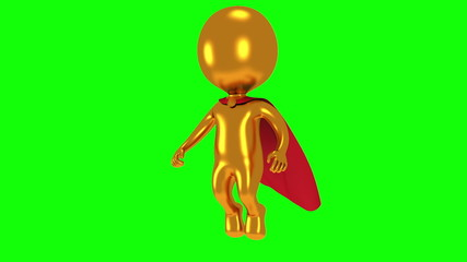 Gold superhero with red cloak fly above
