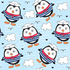 little sailor penguin pattern vector illustration
