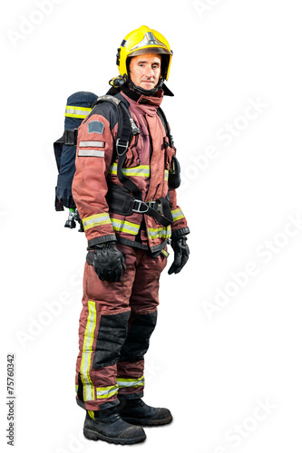 Full length portrait of Fireman. - 75760342