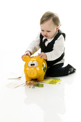 Business Baby with piggybank