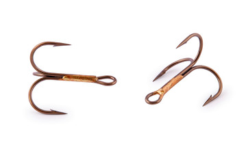 Treble fishing hook (Clipping path)