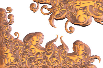 3d illustration of an bronze ornament on a white backgroun