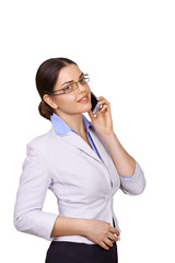 Portrait of smiling business woman talking on the phone