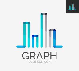 Minimal line design logo, chart, graph icon