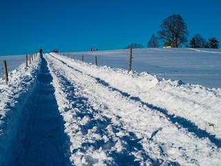 Schneebedeckter Feldweg rauf zur Anhöhe