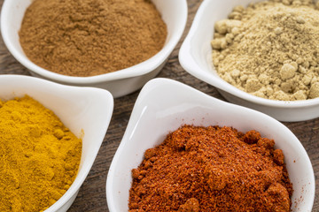 turmeric, ginger, cinnamon and paprika
