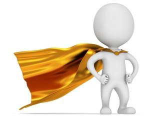 Brave superhero with gold cloak