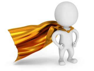 Brave superhero with gold cloak