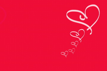 two hearts on a red background