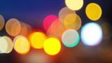 Street Traffic Lights Bokeh as Abstract Urban Background