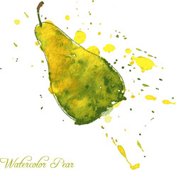 pear drawing by watercolor