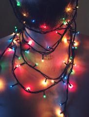 beard with Christmas lights