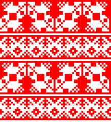 Russian pattern (embroidery 4) abstract, red and white