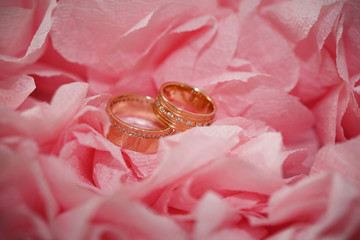 wedding ring in flowers background