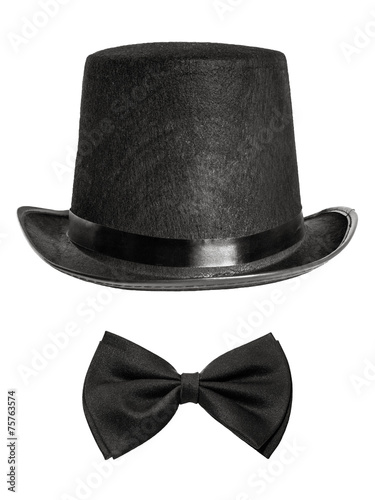 Poster black felt hat and bow tie isolated on white background. front v