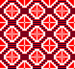Russian pattern (embroidery 5) abstract, red and blue in white