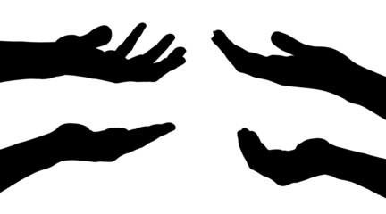 Vector silhouettes of hands.